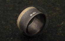 bague-contemporaine-tantale-griffe-diamant-or-bronze
