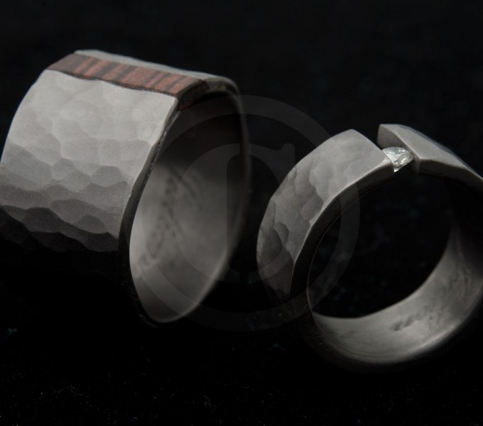 Hammered wedding rings