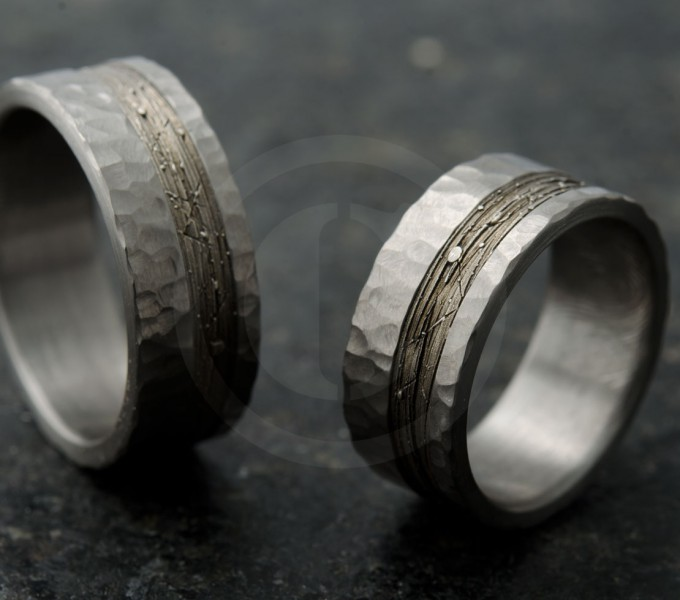 Silver hammered wedding rings