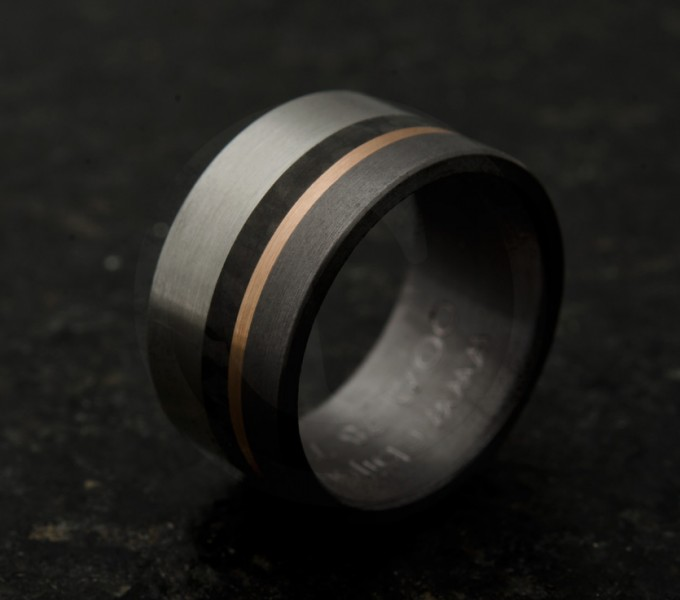 Ring pink gold bands, stainless steel, tantalum and carbon