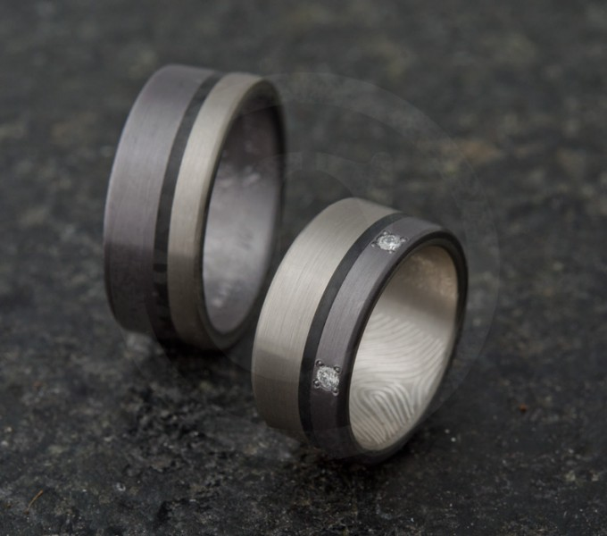 Marriage bands palladium ring, tantalum and carbon with diamonds
