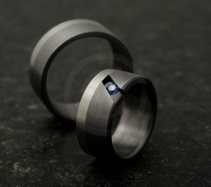 Wedding rings sapphire, black marriage rings with grey