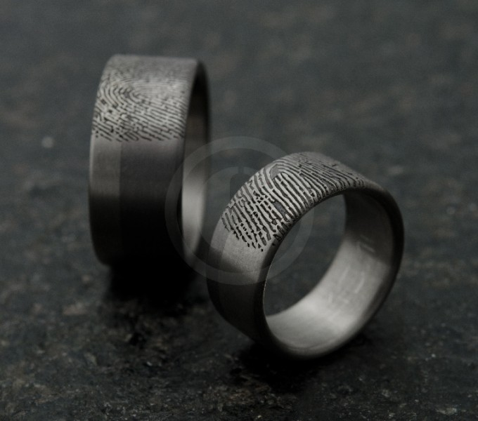 Wedding rings fingerprints, wedding bands with fingerprints black/grey