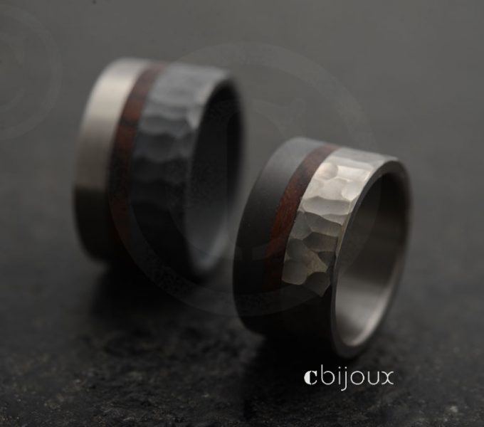 black metal wedding rings, hammered with precious wood
